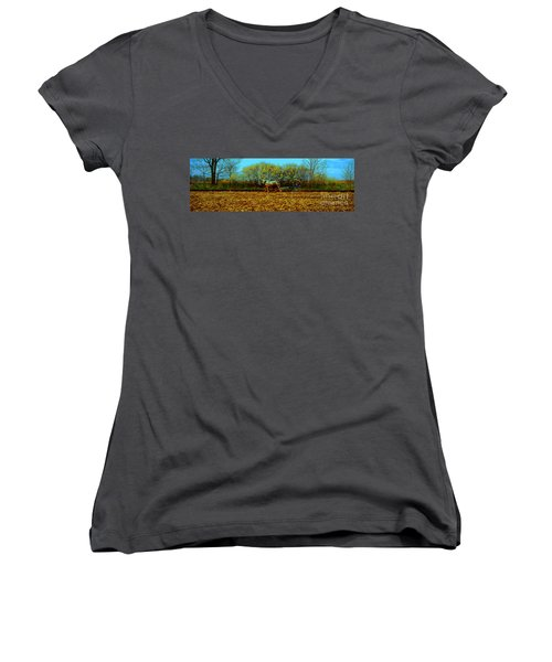 Plow Days Freeport Illinos   Women's V-Neck