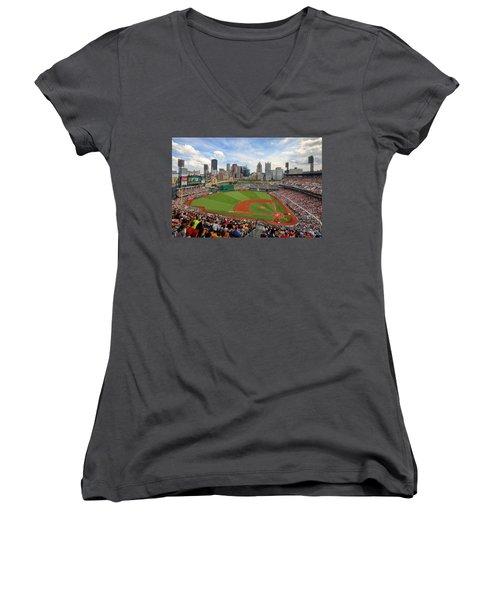 Pnc Park 2014 Women's V-Neck T-Shirt (Junior Cut) by Emmanuel Panagiotakis