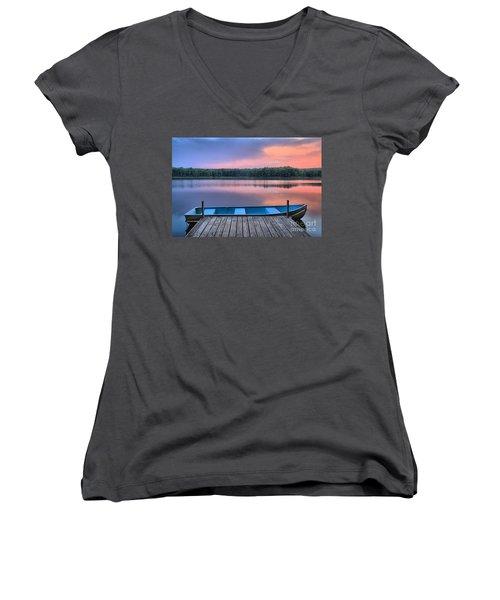 Poconos Lake Whitney Sunset Rowboat Women's V-Neck
