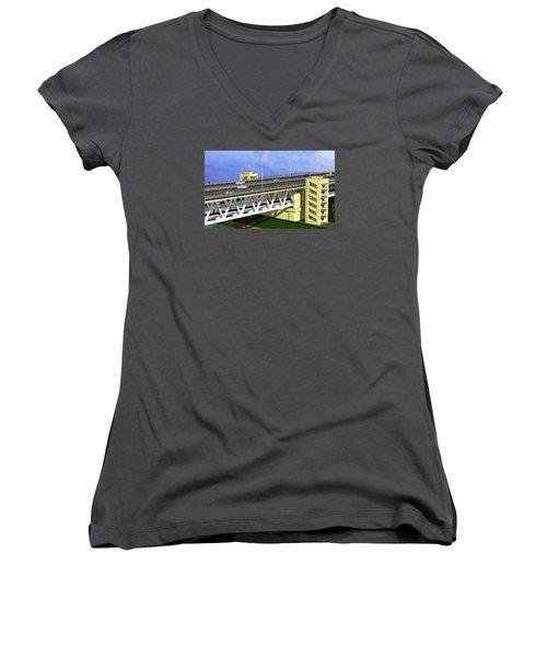 Podilsky Bridge Women's V-Neck T-Shirt (Junior Cut) by Oleg Zavarzin