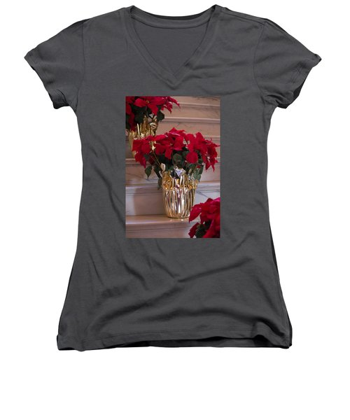 Poinsettias Women's V-Neck (Athletic Fit)