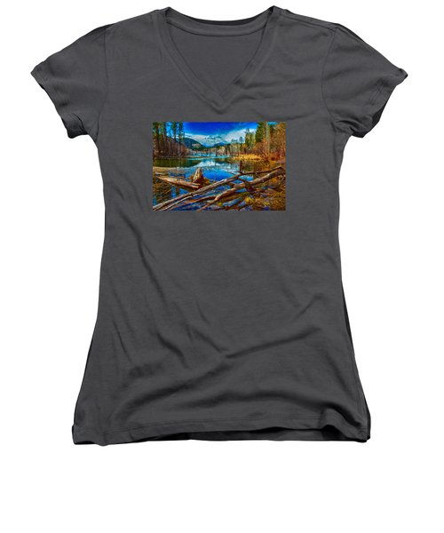 Women's V-Neck featuring the painting Pondering A Mountain by Omaste Witkowski
