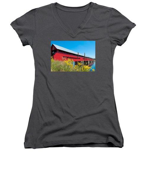 Women's V-Neck T-Shirt (Junior Cut) featuring the photograph Pont Marchand by Bianca Nadeau