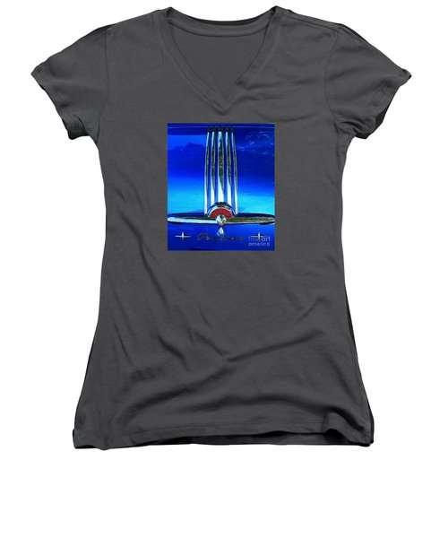 Women's V-Neck T-Shirt (Junior Cut) featuring the photograph Pontiac Eight by Linda Bianic