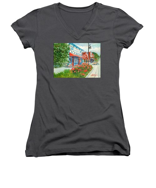 Popcorn Shop In Summer/chagrin Falls Women's V-Neck T-Shirt