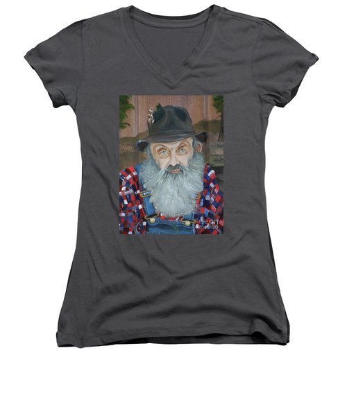 Popcorn Sutton - Moonshiner - Portrait Women's V-Neck (Athletic Fit)