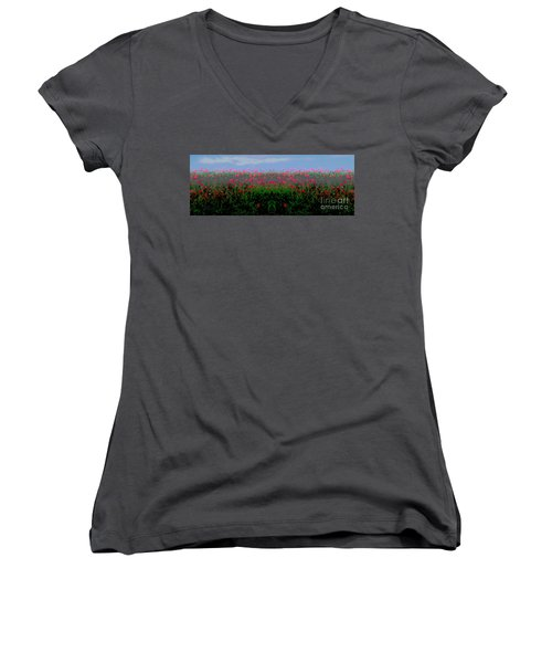 Poppies Field Women's V-Neck (Athletic Fit)