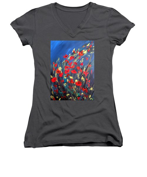 Poppies Field On A Windy Day Women's V-Neck T-Shirt (Junior Cut) by Dorothy Maier