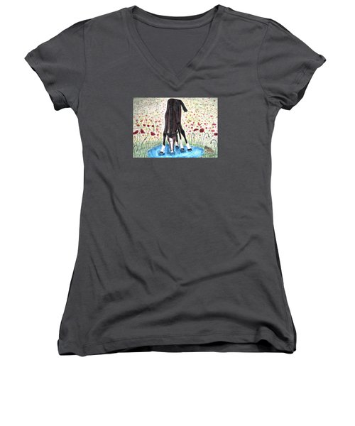 Poppies N  Puddles Women's V-Neck T-Shirt (Junior Cut) by Angela Davies