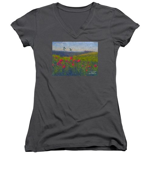 Women's V-Neck T-Shirt (Junior Cut) featuring the digital art Poppies Of Tuscany by Lianne Schneider
