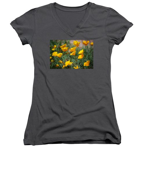 Women's V-Neck T-Shirt (Junior Cut) featuring the photograph Poppies by Tam Ryan
