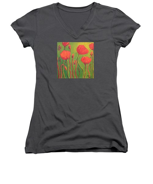 Women's V-Neck T-Shirt (Junior Cut) featuring the painting Poppy Field by Nancy Jolley