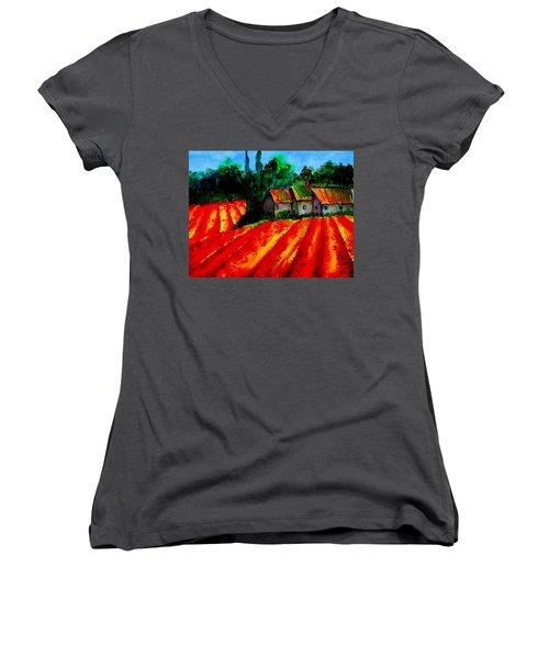 Poppy Field  Sold Women's V-Neck T-Shirt (Junior Cut) by Lil Taylor
