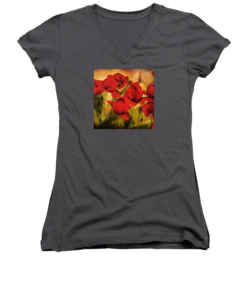 Poppy Flowers At Dusk Women's V-Neck