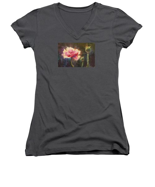 Poppy Glow Women's V-Neck T-Shirt (Junior Cut) by Karen Whitworth