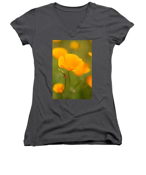 Women's V-Neck T-Shirt (Junior Cut) featuring the photograph Poppy II by Ronda Kimbrow