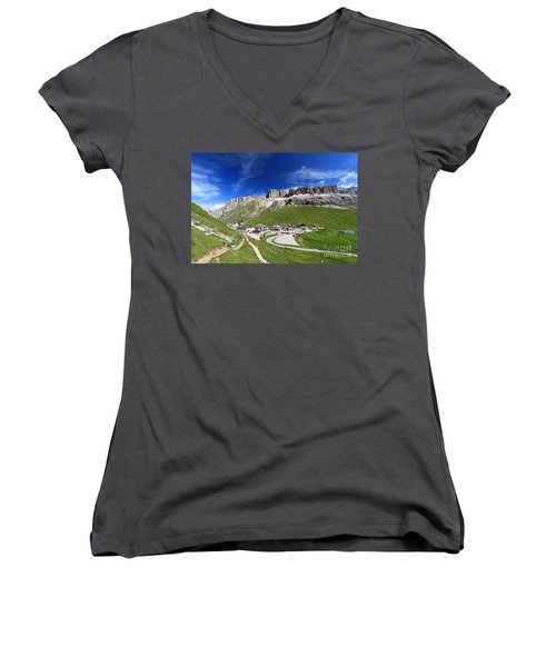 Pordoi Pass And Mountain Women's V-Neck T-Shirt (Junior Cut) by Antonio Scarpi