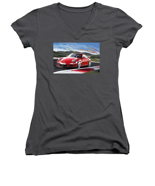 Porsche 911 Gt3 Impressionist Women's V-Neck T-Shirt (Junior Cut)