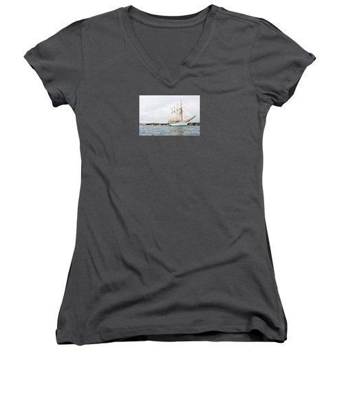 Juan Sebastian De Elcano Famous Tall Ship Of Spanish Navy Visits Port Mahon In Front Of Bloody Islan Women's V-Neck T-Shirt (Junior Cut) by Pedro Cardona