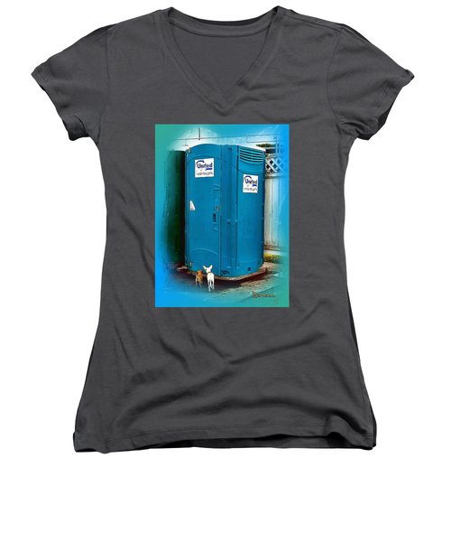 Women's V-Neck T-Shirt (Junior Cut) featuring the photograph Porta Puppy Potty... by Sadie Reneau
