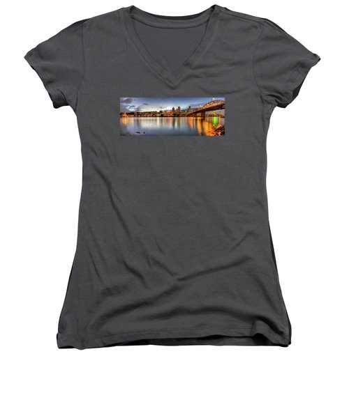 Portland Downtown Skyline Night Panorama 2 Women's V-Neck (Athletic Fit)