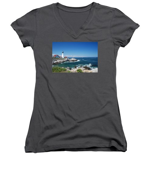 Portland Head Lighthouse Women's V-Neck T-Shirt (Junior Cut) by Allen Beatty