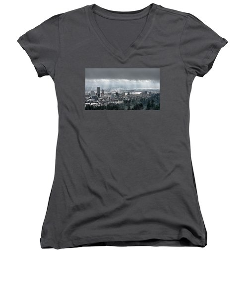 Portland Oregon After A Morning Rain Women's V-Neck T-Shirt