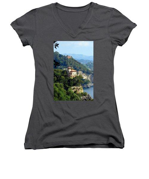 Portofino Coastline Women's V-Neck T-Shirt (Junior Cut) by Carla Parris
