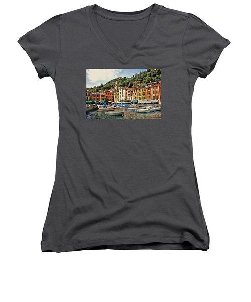 Portofino Harbor 2 Women's V-Neck T-Shirt (Junior Cut) by Allen Beatty