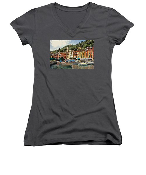 Portofino Harbor 2 Women's V-Neck T-Shirt (Junior Cut)