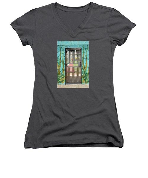 Porton Cerrado Women's V-Neck T-Shirt (Junior Cut) by The Art of Alice Terrill