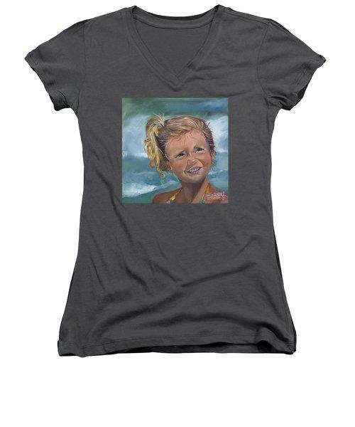 Portrait - Emma - Beach Women's V-Neck T-Shirt