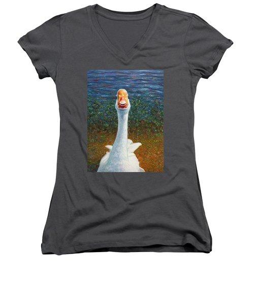 Portrait Of A Goose Women's V-Neck