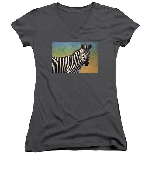 Women's V-Neck T-Shirt (Junior Cut) featuring the painting Portrait Of A Zebra by James W Johnson
