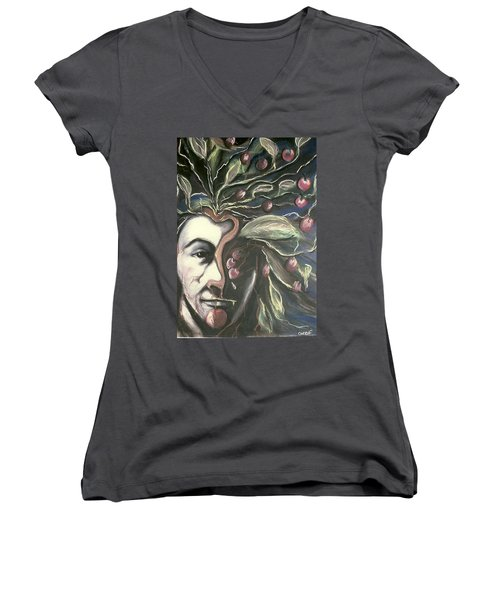 Women's V-Neck T-Shirt (Junior Cut) featuring the pastel  Self Portrait  by Carrie Maurer