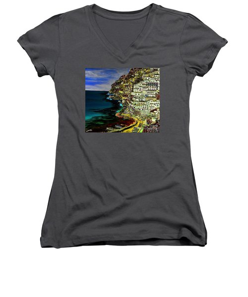 Positano At Night Women's V-Neck T-Shirt (Junior Cut) by Loredana Messina