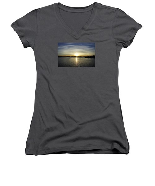 Potomac Sunset Women's V-Neck T-Shirt (Junior Cut) by Laurie Perry