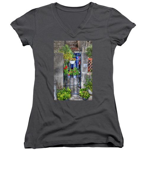Women's V-Neck T-Shirt (Junior Cut) featuring the photograph Pots Perouge France by Tom Prendergast