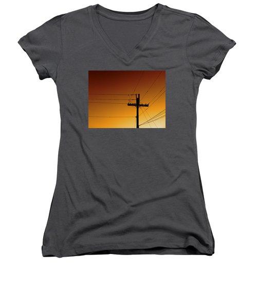 Power Line Sunset Women's V-Neck T-Shirt