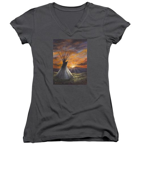 Prairie Sunset Women's V-Neck T-Shirt
