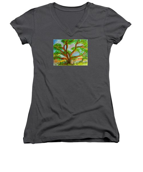 Prayer Mountain Tree Women's V-Neck (Athletic Fit)