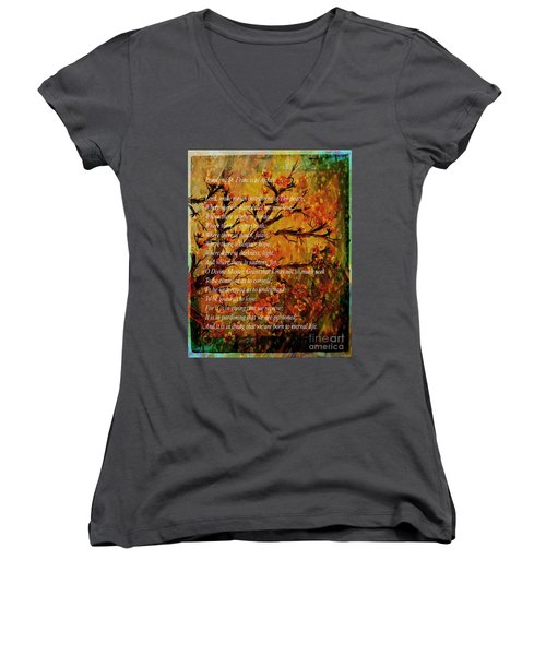 Prayer Of St. Francis Of Assisi  And Cherry Blossoms Women's V-Neck (Athletic Fit)