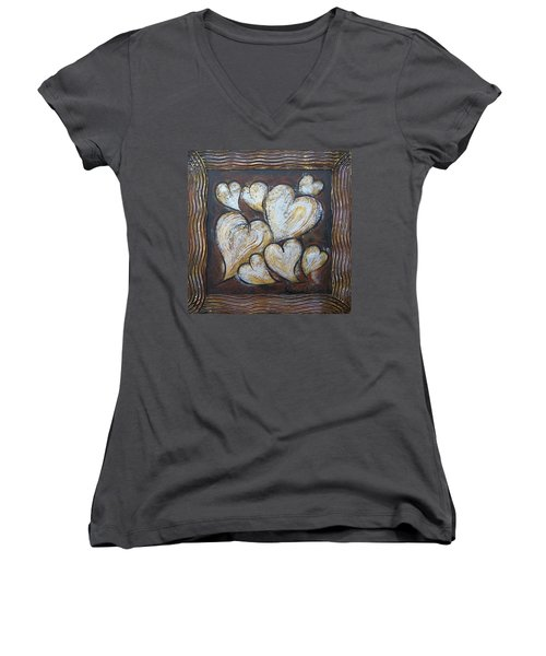Women's V-Neck T-Shirt (Junior Cut) featuring the painting Precious Hearts 301110 by Selena Boron