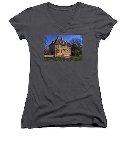 Women's V-Neck T-Shirt (Junior Cut) featuring the photograph President's House College Of William And Mary by Jerry Gammon
