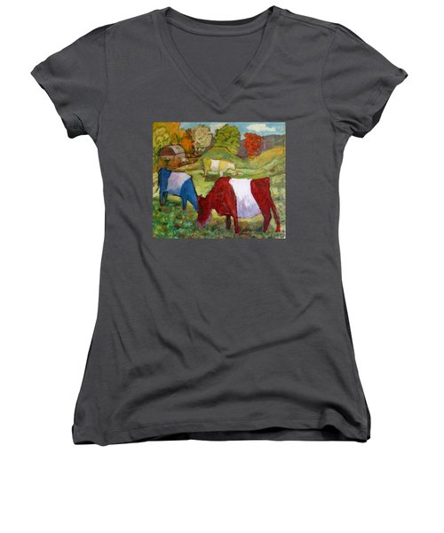 Primary Cows Women's V-Neck (Athletic Fit)