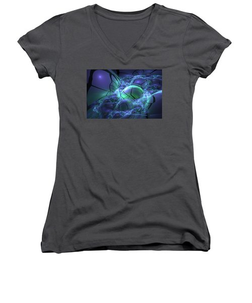 Women's V-Neck T-Shirt (Junior Cut) featuring the digital art Primordial Soup  by Svetlana Nikolova