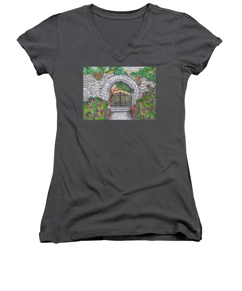 Private Garden At Sunset Women's V-Neck (Athletic Fit)