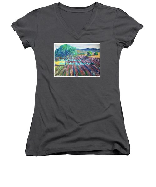 Provence Lavender Field Women's V-Neck T-Shirt (Junior Cut) by Eric  Schiabor