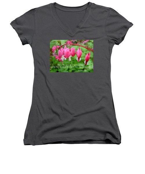 Psalms 27 14 Bleeding Hearts Women's V-Neck T-Shirt