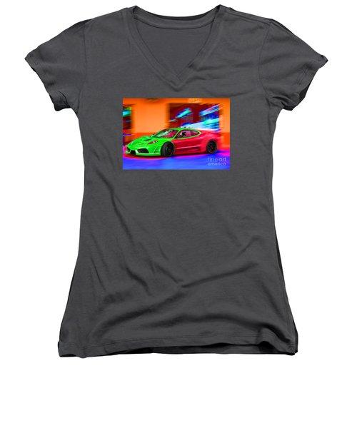 Women's V-Neck T-Shirt (Junior Cut) featuring the photograph Psychedelic Ferrari by Gunter Nezhoda